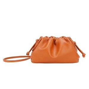 Women Messenger Bags PU Leather Pouch Handbag Crossbody Bag Soft Fashion Luxury Designer Clutch Lady Ruched Cloud Shoulder Bag