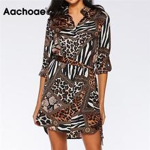 Aachoae robe léopard femmes 2020 été Sexy Mini robe de soirée col rabattu bureau chemise robe dames robes de pansement Vestido