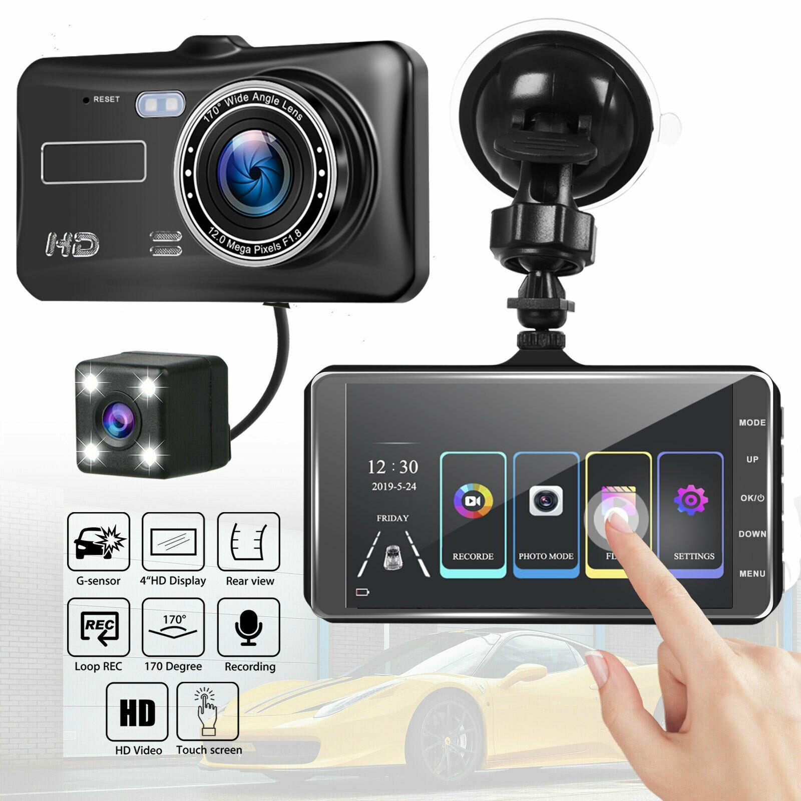 4 ''Автомобильный видеорегистратор, камера с двойным объективом HD 1080P, Автомобильный цифровой видеорегистратор, видеорегистратор с сенсорны...