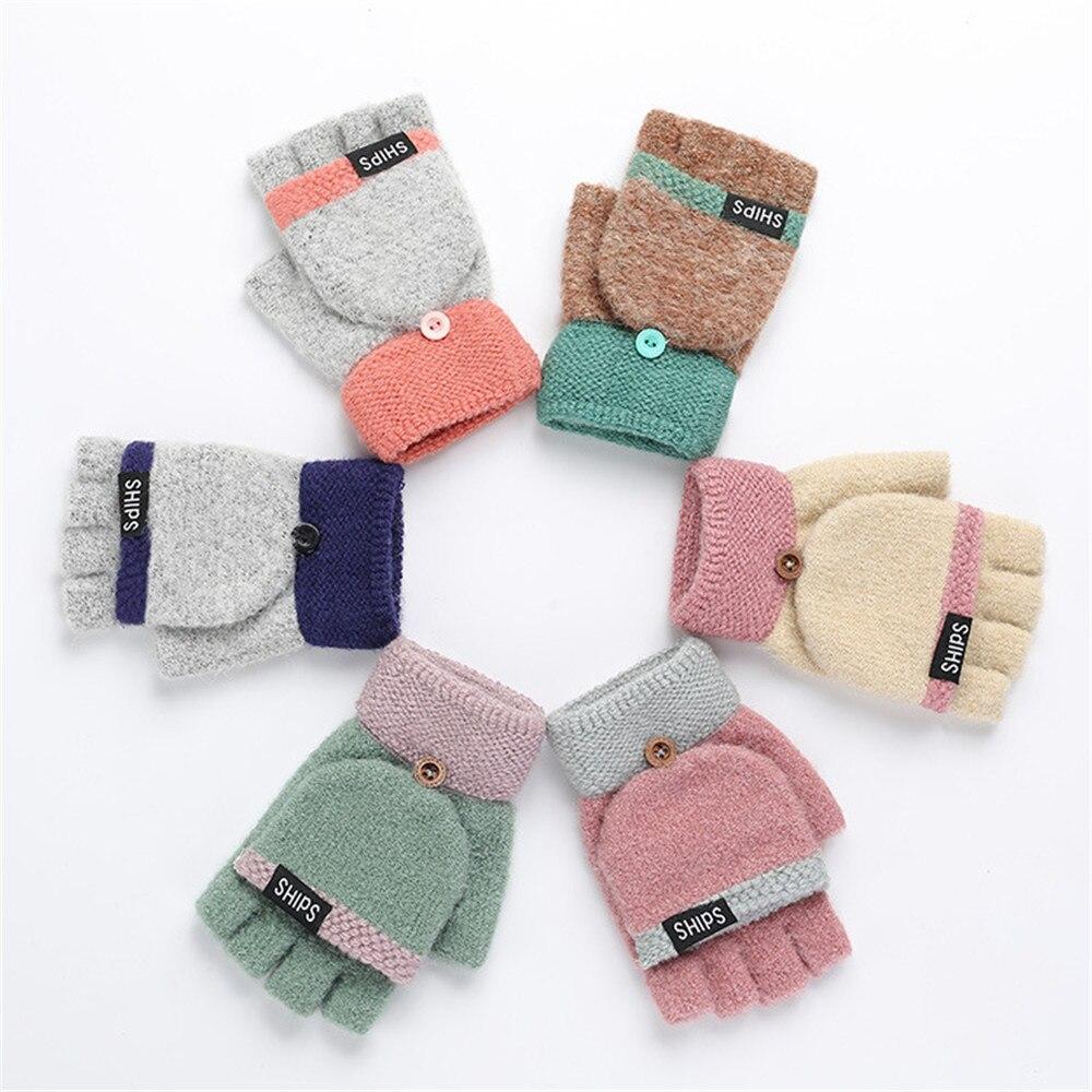 1 par de guantes de punto con tapa guantes de invierno cálidos de lana con tapa guantes flocados calientes de punto medio-dedo guantes para niñas y mujeres