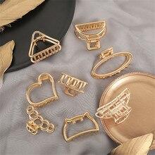 Pinzas para el pelo con forma de corazón para niña y mujer, horquillas para el pelo, accesorios para el cabello de aleación de oro, geométricos, bonitos