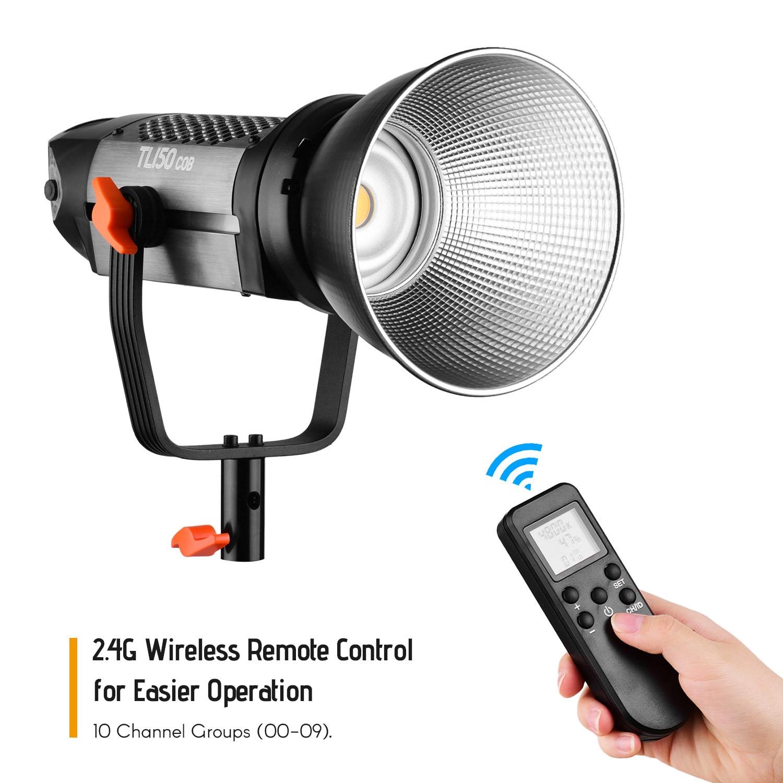التصوير الإضاءة TL-150COB ستوديو LED فيديو ضوء 150W 5600K عكس الضوء w/بوينس جبل اللاسلكية التحكم عن بعد و عاكس