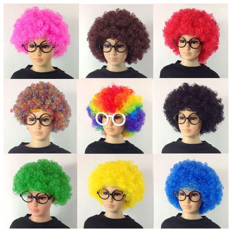 Fans explosive head wig dance bar wedding party dress performance props wig Funny fluffy funny clown wig caps +Free Eye frame
