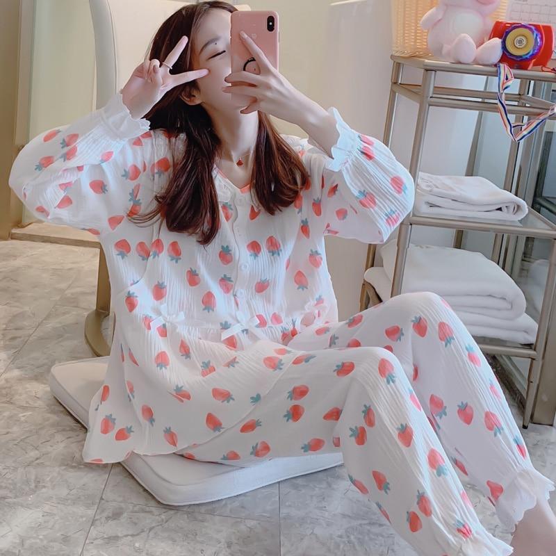 Soft Cotton Double Wrinkle Gauze Maternity Nursing Pajamas Spring Summer Postpartum Lactation Suit Long Sleeve Sleepwear Sets enlarge