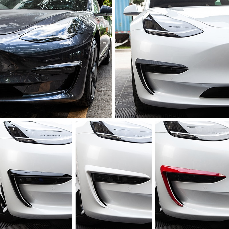 Vxvb-ملحقات السيارة لتيسلا موديل 3 2021 ، أسود ، ألياف الكربون ، ABS ، 3 شفرات أمامية ، موديل 3