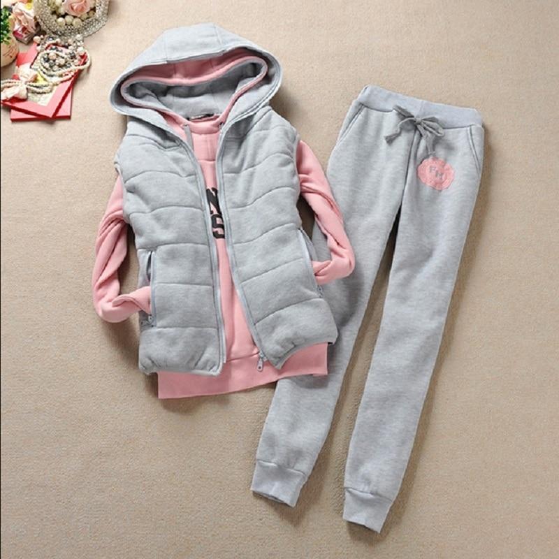 Hot selling Women's sweatshirt vest pants 3 pieces Set plus velvet thickening plus size casual nice Suit Cheap wholesale
