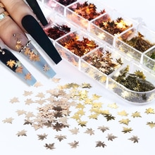 12Colors Golden Red Maple Leaf Sequins For Nail Art Glitters Flakes 3D Nail Charms DIY Manicure Desi
