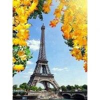 Peinture diamant theme tour Eiffel  mosaique de paysage  broderie 5D  bricolage faire soi-meme  en feuille derable  image en strass  cadeau de decoration pour la maison