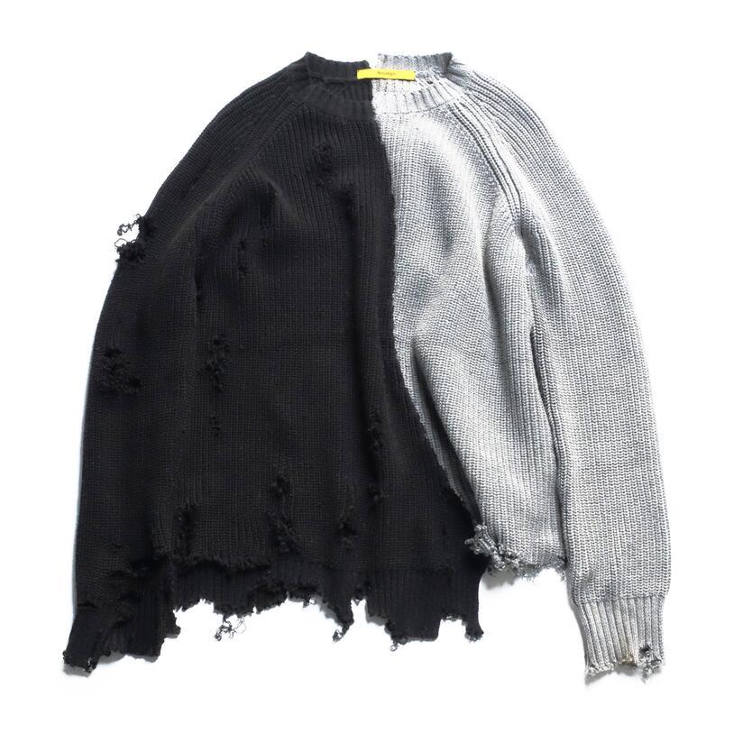 Autumn winter men ripped hole patchwork oversized knitted sweater irregular design hip hop punk knitwear women vintage pullover
