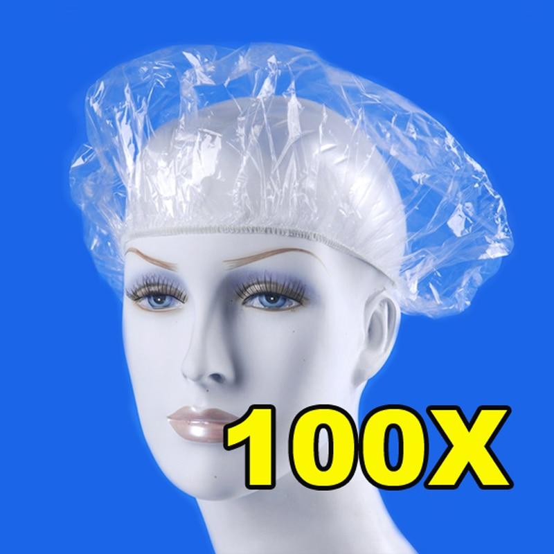 100pcs Disposable Shower Caps Hat Bathing Caps Hotel One-Off Elastic Shower Cap Clear Hair Salon Bathroom Products Bath Caps