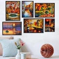 Peinture a lhuile de paysage nordique  pont de riviere  bateau  art abstrait  salon  couloir  bureau  decoration murale de la maison