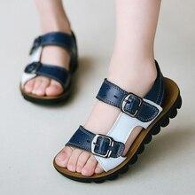 Sandales en cuir pour garçons, chaussures dété, pour enfants de 3 à 14 ans, pantoufles pour écoliers, ZO12-5