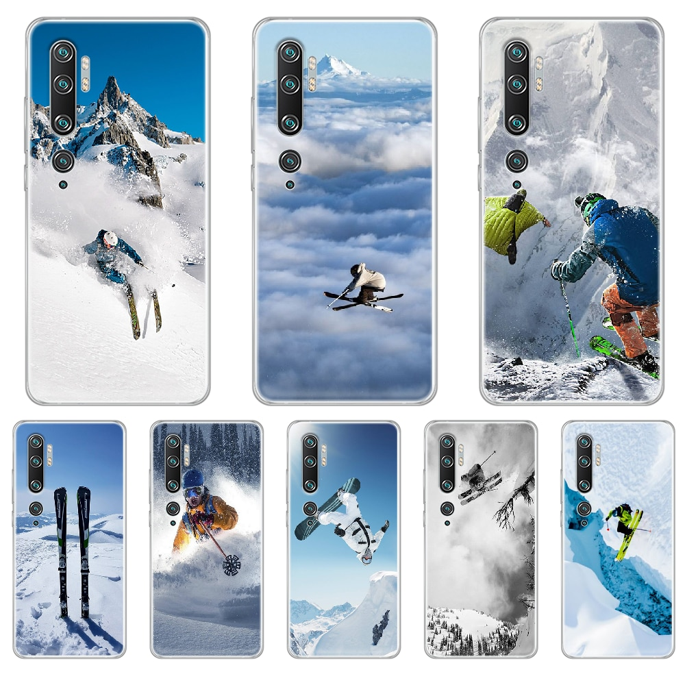 Funda protectora para teléfono esquí nieve Snowboard Skis para XIAOMI MI 3 4 5 5X 8 9 10 se max pro a2 9T note lite funda transparente para móvil
