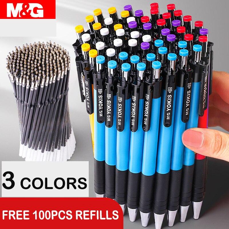 40 unids/lote M & G colorido Bolígrafo Retráctil 0,7mm azul negro rojo bolígrafo bolígrafos para la escuela suministros de oficina