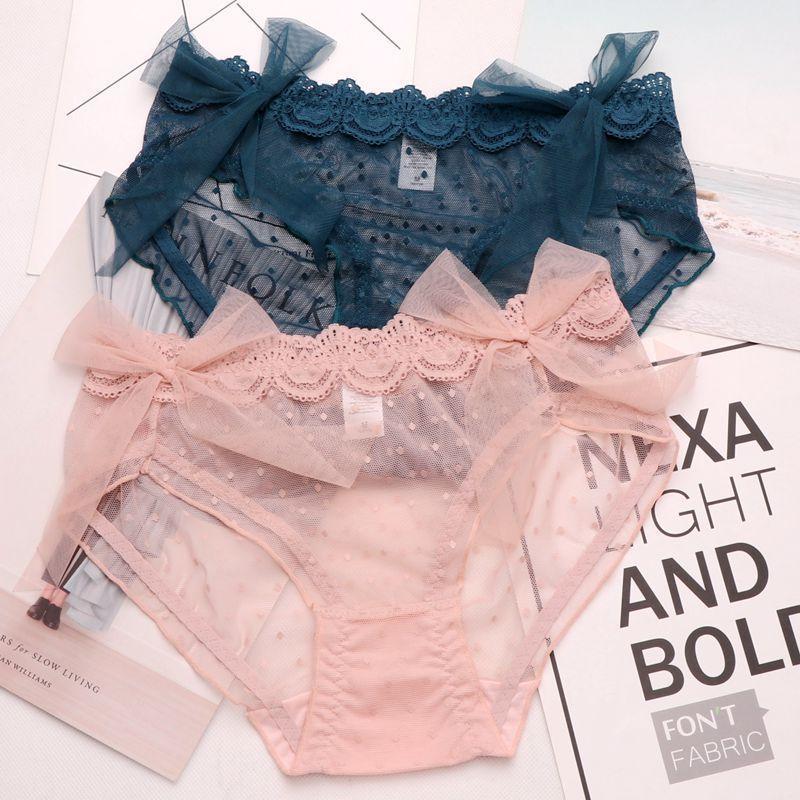 SP&CITY Cute Wave Dot Big Lace Bow Sense Sexy Underwear Women Hollow Out Seamless Panties Transparent Briefs Female Lingerie