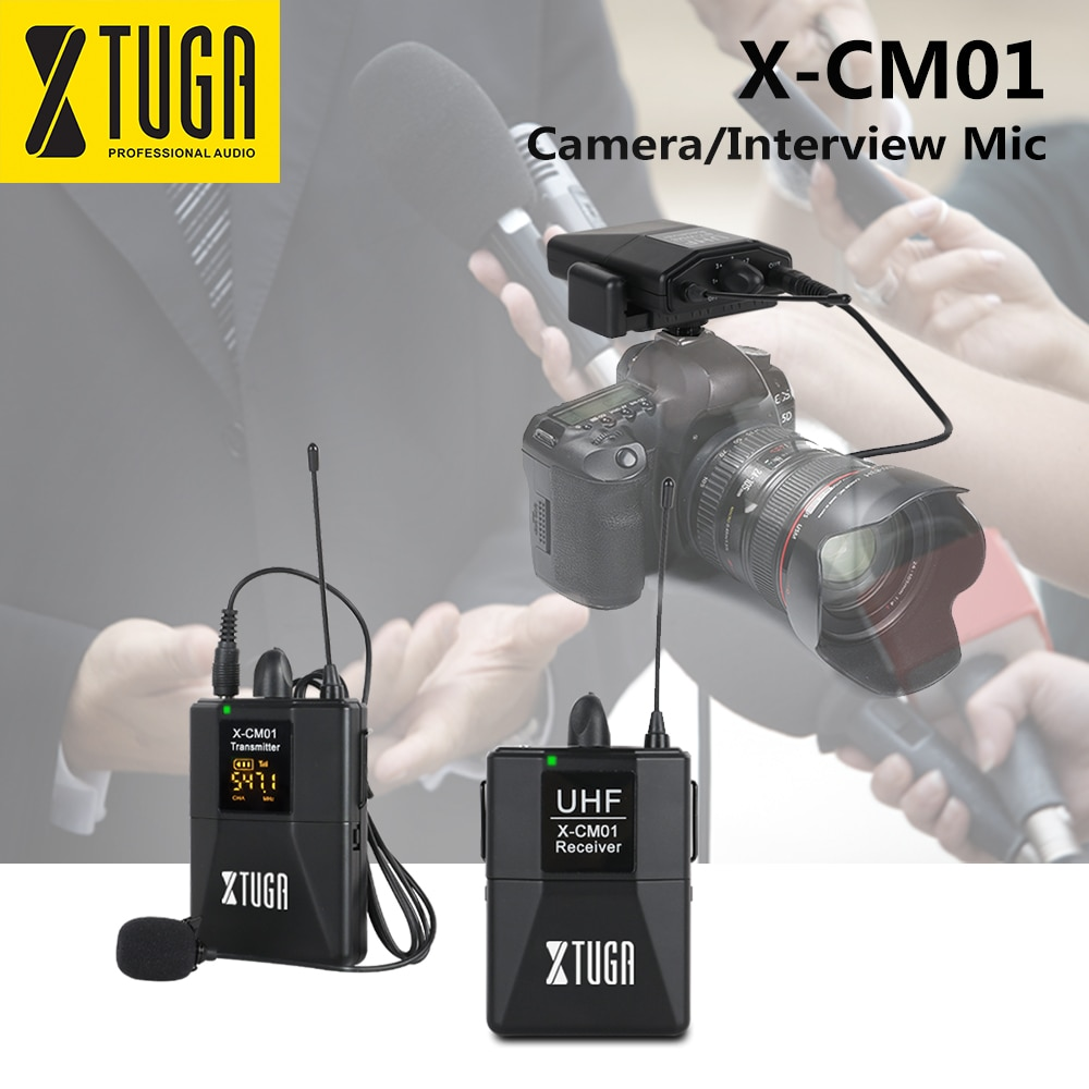 XTUGA X-CM01 UHF Wireless Lavalier Microphone, UHF Lapel Camera Mic System with 16 Selectable Channel Come with Two 3.5mm Cables xtuga wireless lavalier microphone professional uhf camera microphone with 30 selectable channels for slr camera dv camcorder