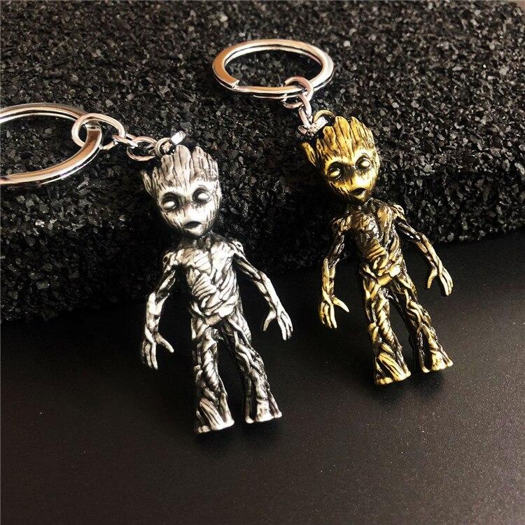 2 cores dos desenhos animados treemen figura brinquedos super-herói metal chaveiro chaveiro bronze antigo liga de zinco chave titular pingentes