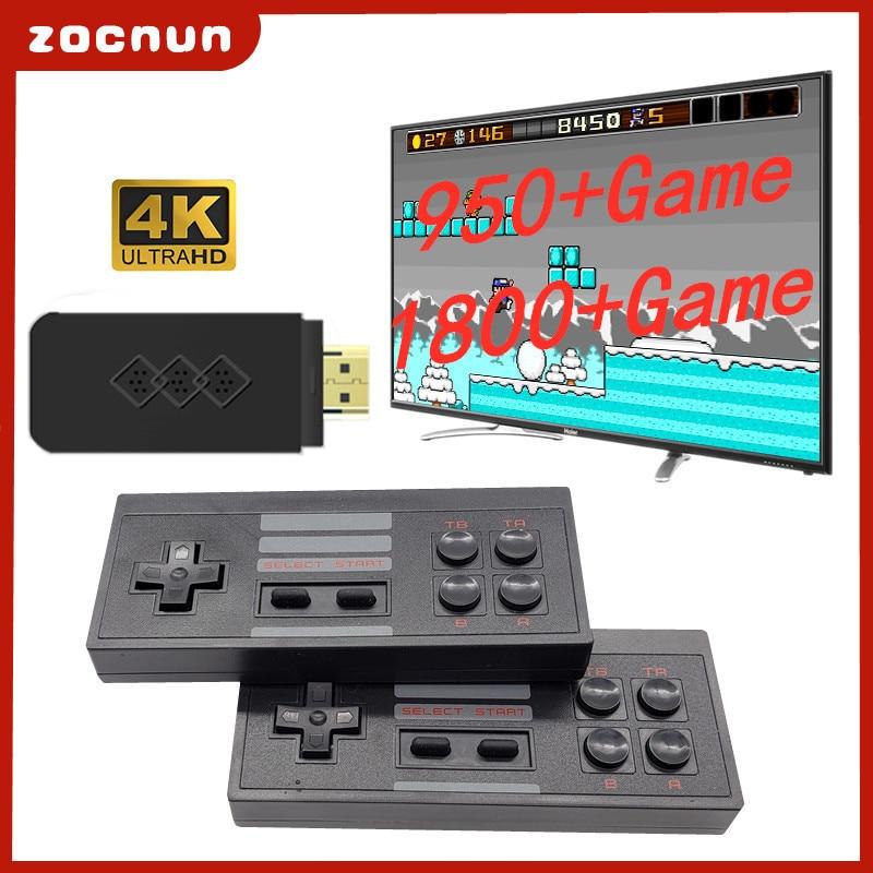 ZOCNUN USB Беспроводная портативная ТВ-видео игровая консоль со встроенными 1800 классическими играми 8 бит мини-консоль с поддержкой AV/HD выхода