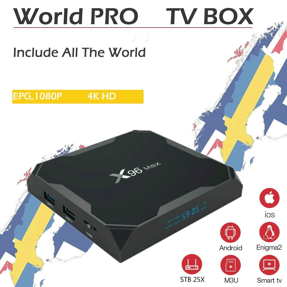 Mejor X96 Max Android 9,0 Smart IP TV caja nórdica sueco Noruega Finlandia mundo IPTV Abonnement de la caja de TV sólo los canales no incluido