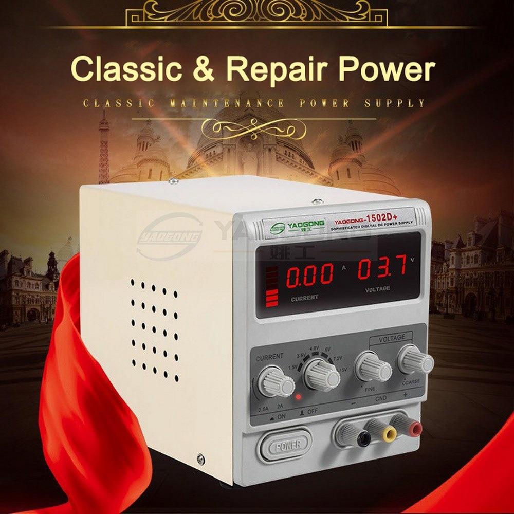 Nuevo 1502DD + 15V 2A AC a DC fuente de alimentación regulada 15W corriente ajustable para reparación de teléfonos móviles prueba de poder