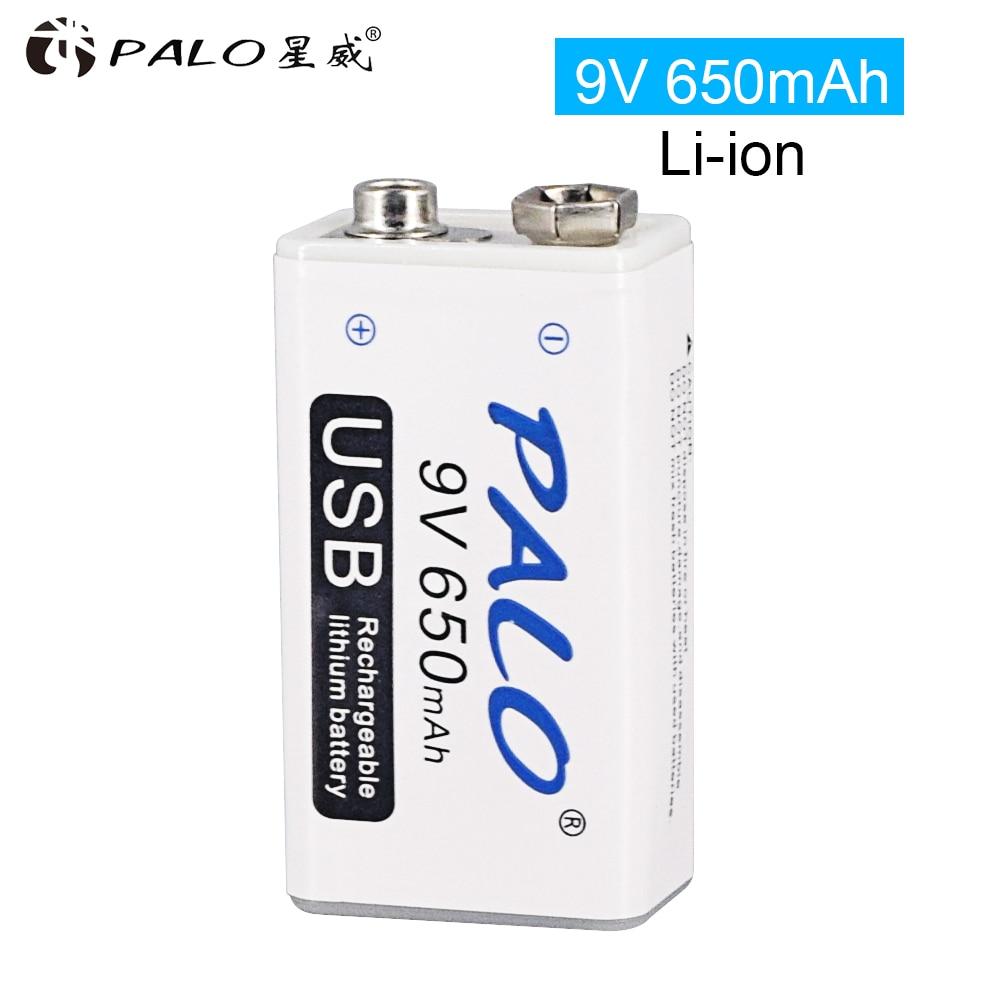 Литий-ионная аккумуляторная батарея 9 в 6F22 650 мАч, Литиевые Батарейки Micro USB 9 В для мультиметра, микрофона, игрушек, пульта дистанционного упр...