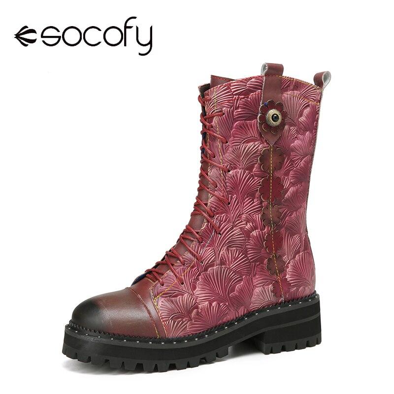 SOCOFY-أحذية نسائية جلدية مطبوعة بأوراق الجنكة ، أحذية جلدية مريحة وعادية يمكن ارتداؤها ، أحذية قصيرة عصرية ، أحذية منتصف الساق