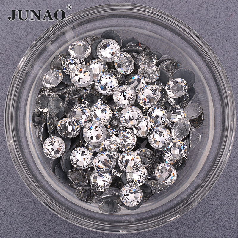 JUNAO SS 6 8 10 12 16 20 30, cristal transparente brillante, aplique de diamantes de imitación, diamantes de imitación para planchar, diamantes, arreglo de calor, cristales para ropa