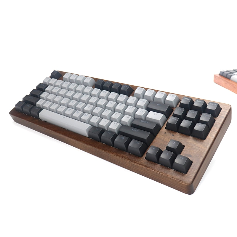 Alopow AOPO 87 80% الميكانيكية لوحة المفاتيح خشبية حالة rgb ضوء نوع c usb مع البرمجيات برمجة قابلة للتبديل السريع الكرز التبديل
