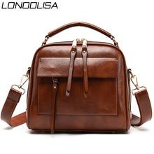 جلد طبيعي حقيبة يد فاخرة النساء حقائب مصمم Vintage السيدات طبقة مزدوجة الداخلية حقيبة كتف حقائب كروسبودي للنساء 2020