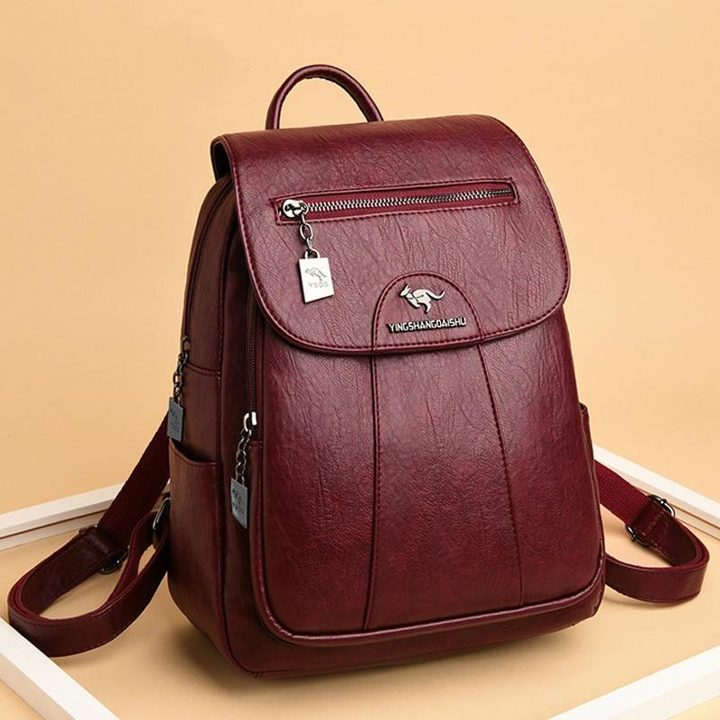 7 لون المرأة لينة حقيبة ظهر مصنوعة من الجلد خمر حقائب كتف الإناث كيس دوس عادية السفر السيدات على ظهره Mochilas الحقائب المدرسية