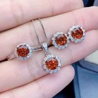 925 silver new temperament sunflower jewelry set orange zircon color treasure adjustable ring necklace pendant earring for women