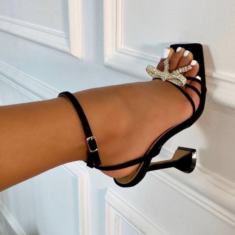 Bowknot de Salto Sandálias de Salto de Vidro de Vinho Alto Sapatos Femininos Strass Fivelas Decorado Toe Quadrado Feminino 2021 Verão Vestido Sandálias