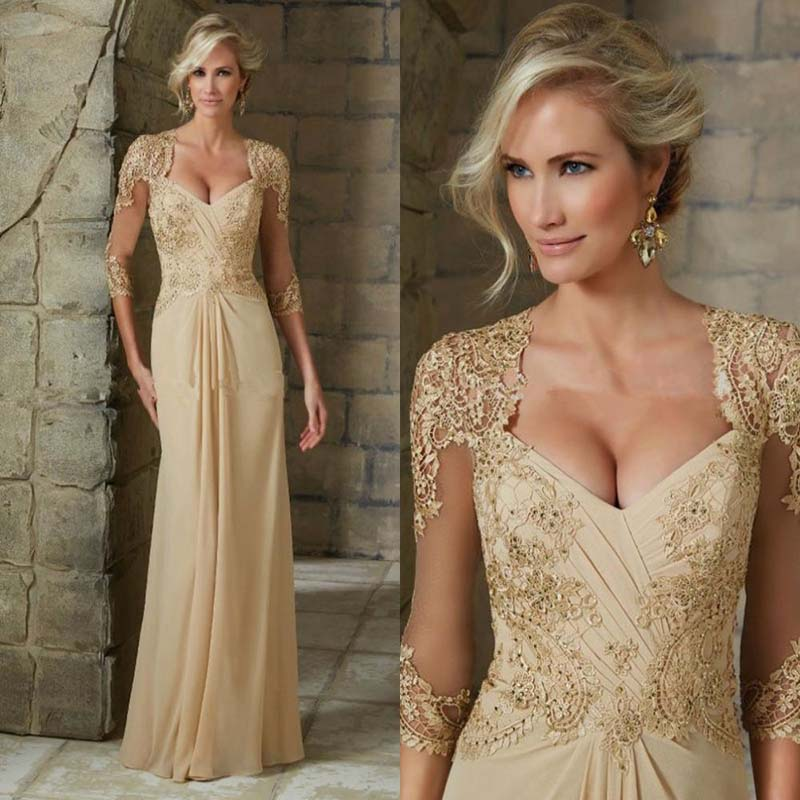 2021 Modest Champagne Chiffon Mother of the Bride Dresses With 3/4 Sleeves Lace Wedding Party Gowns