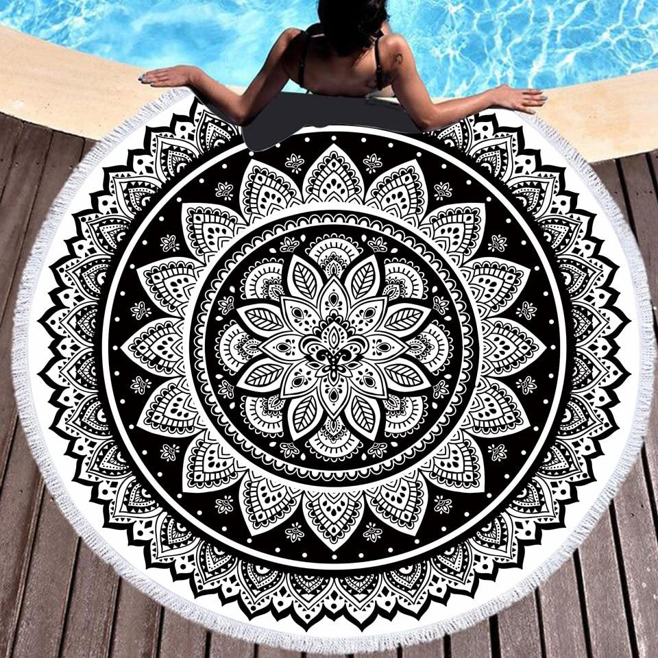 البوهيمي ماندالا مطبوعة شاطئ منشفة مستديرة واقية من الشمس شال في الهواء الطلق سجادة للرحلات السفر ستوكات فوط استحمام السفر اليوغا بطانية