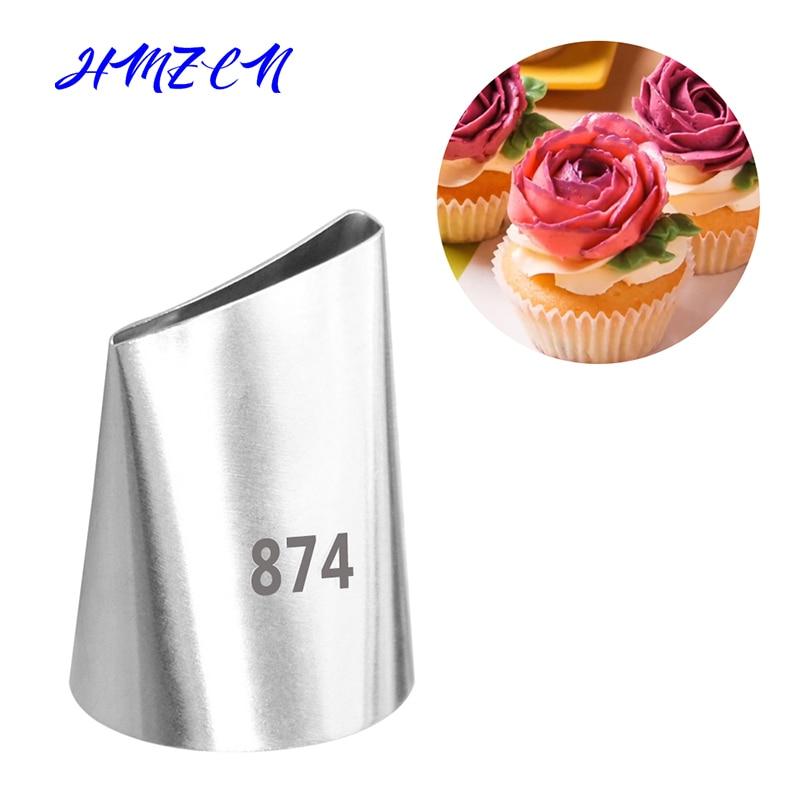 1 ud. #874 boquillas grandes de acero inoxidable para glaseado de Magdalena de flor, boquillas para repostería, boquillas para crema, flor, antorcha, decoración de tubos de pastelería