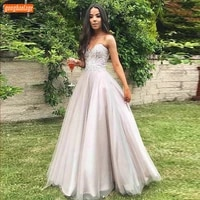 fashion light pink evening gowns long 2020 sweetheart appliqued lace tulle a line formal dress women custom made evening dresses