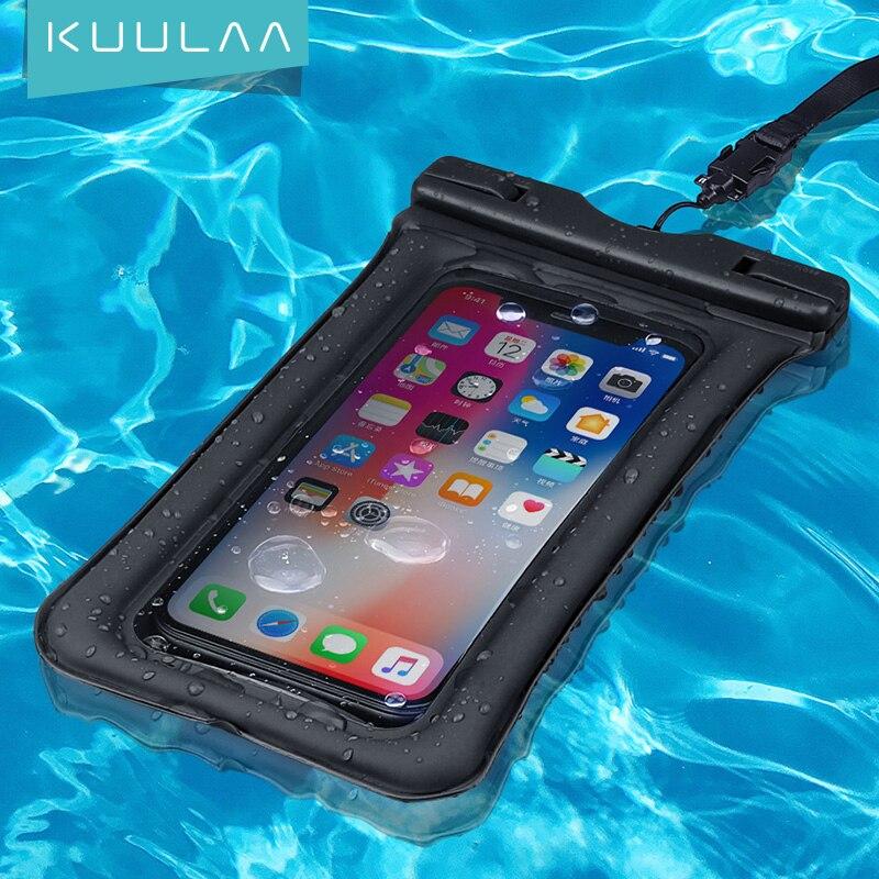 KUULAA Waterproof Phone Case Sealed Clear Bag For iPhone Xiaomi Huawei Samsung Ulefone Mobile Phone
