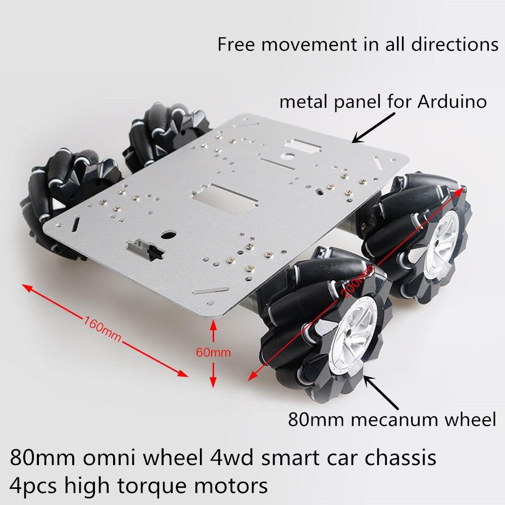 DIY 80mm Mecanum Wheel Smart Car Chassis Kit 4WD Omni-Directional Mobile Robot Platform 4pcs High Torque Motor For Drift/ AGV