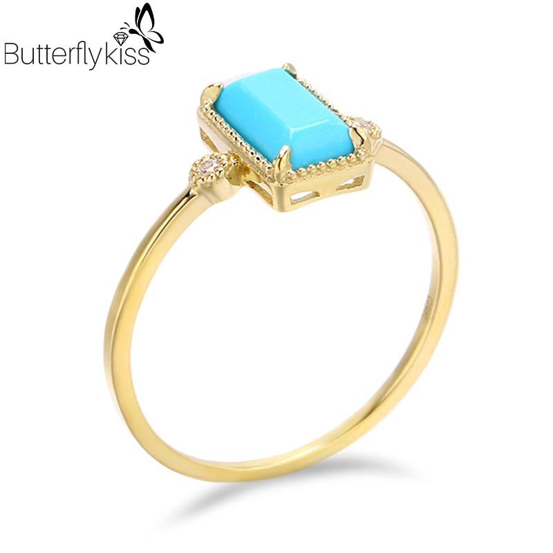 BK-خواتم ذهبية أصلية عيار 9 قيراط مرصعة بأحجار كريمة فيروزية طبيعية ، 585 ، مجوهرات مربعة عرقية بسيطة للنساء ، هدية الذكرى السنوية للزفاف