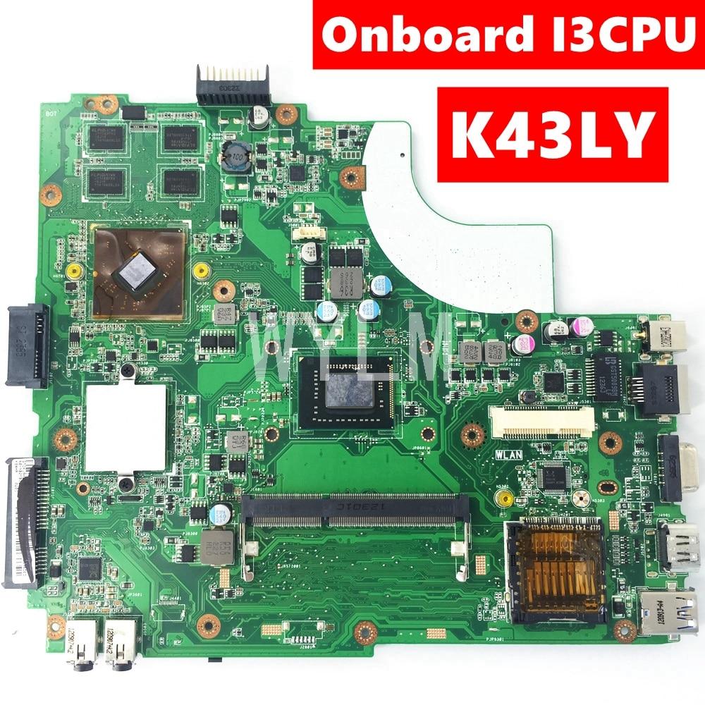 K43LY اللوحة على متن I3 CPU HD6470M 1GB اللوحة ل ASUS X84HR K84HR K84LY اللوحة المحمول HM65 DDR3 100% اختبار