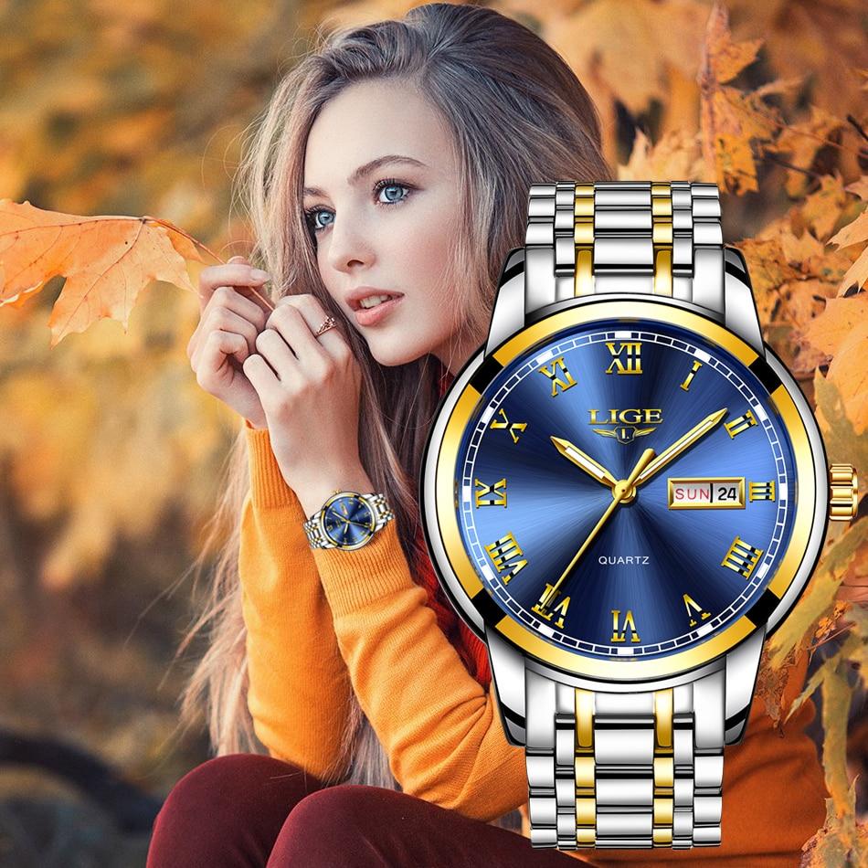 LIGE-ساعة كوارتز ذهبية زرقاء للنساء ، ساعة يد نسائية فاخرة ، مع علبة