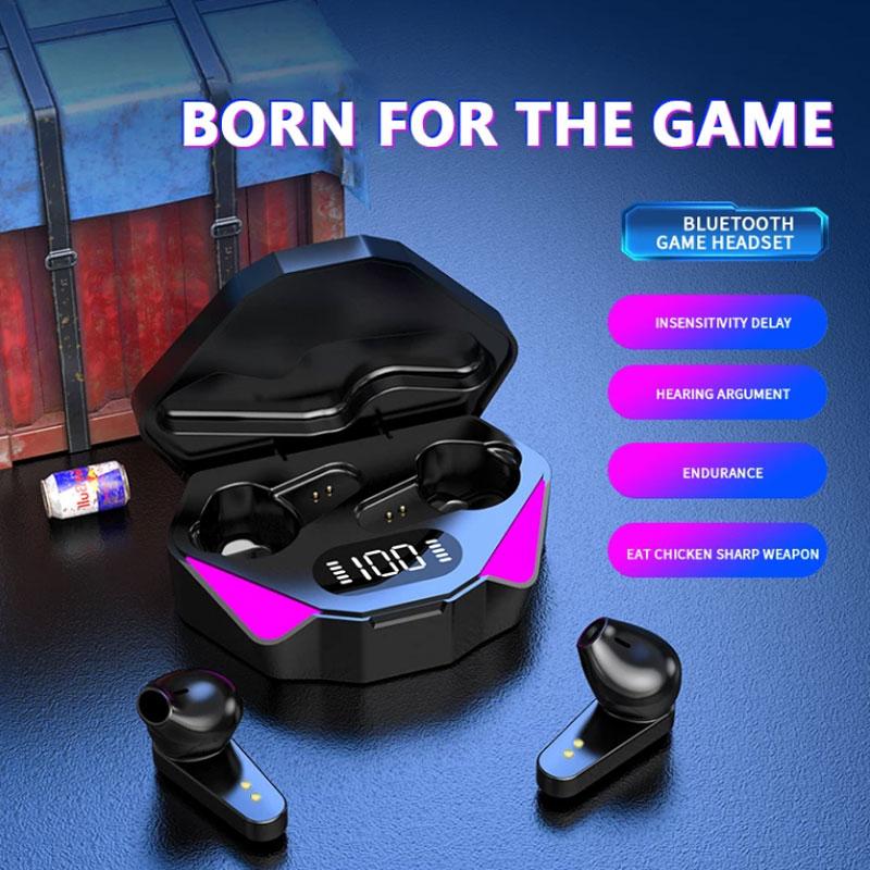 Tws jogos fones de ouvido sem fio bluetooth 5.0 baixa latência cancelamento de fones de ouvido com display led para telefo ruído