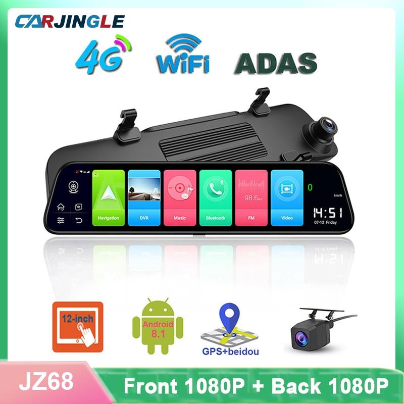 4G Android Видеорегистраторы для автомобилей 1080p Ночное видение Камера полный 12 дюймовое зеркало GPS рекордер WIFI с двумя объективами ADAS