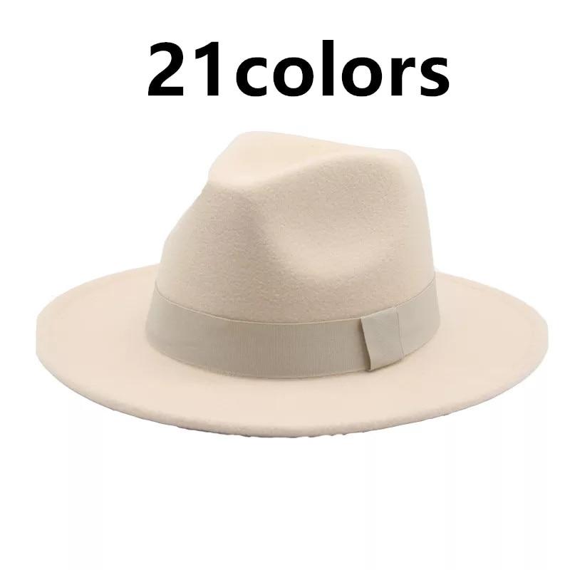 fedora hats women men ribbon band belt wide brim classic beige white felted hat british elegant fasc