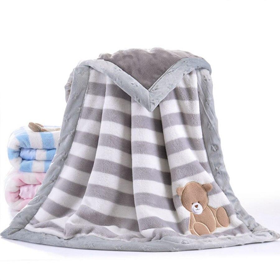 Camadas duplas Engrossar 75x100 centímetros Crianças Cochilo Cobertor Do Bebê Inverno Quente Flanela Receber Cobertor Envoltório Swaddle Cama para recém-nascidos