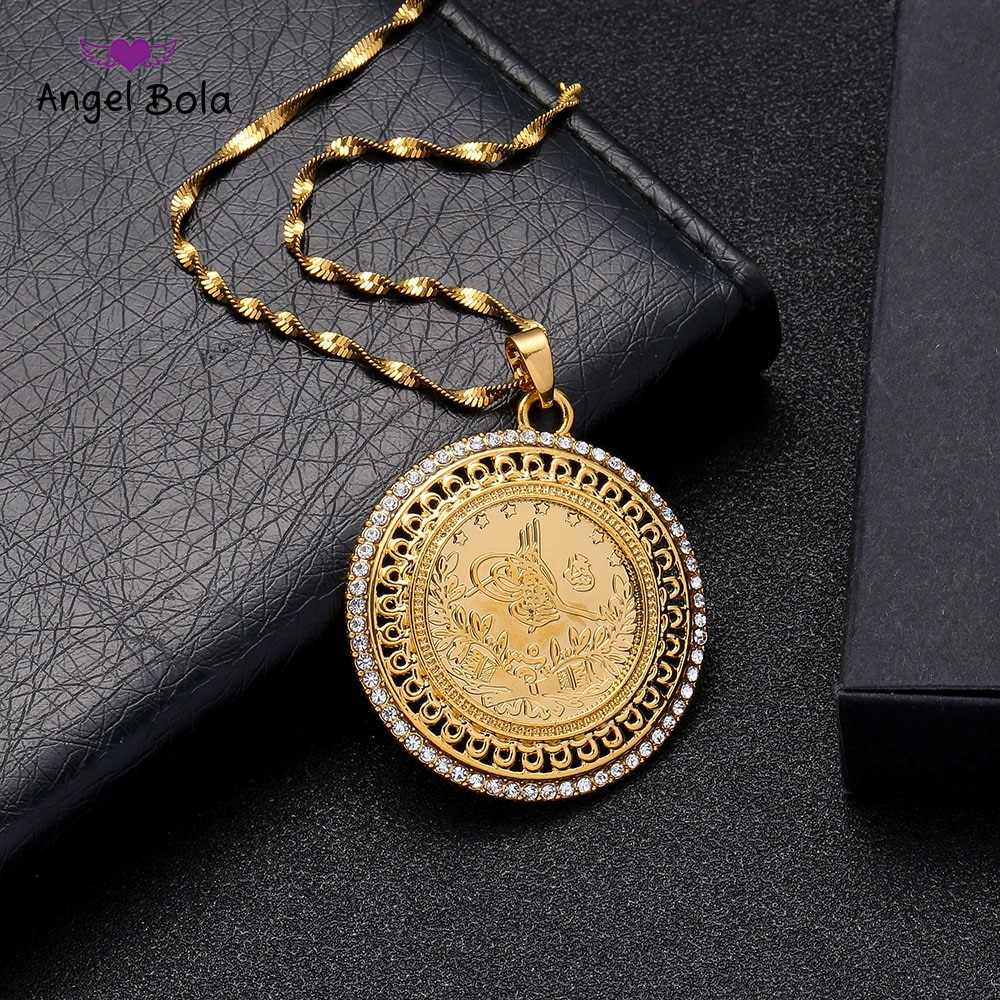 Gold and Crystal Allah Pendant and Necklaces for Women Middle East Islam Muslims New Jewelry Arab Gifts Middle East Jewelry