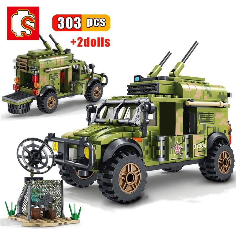 SEMBO 303Pcs Military Car Building Blocks Armored Communication Command Vehicle Model Kits Educational Bricks For Children Toys