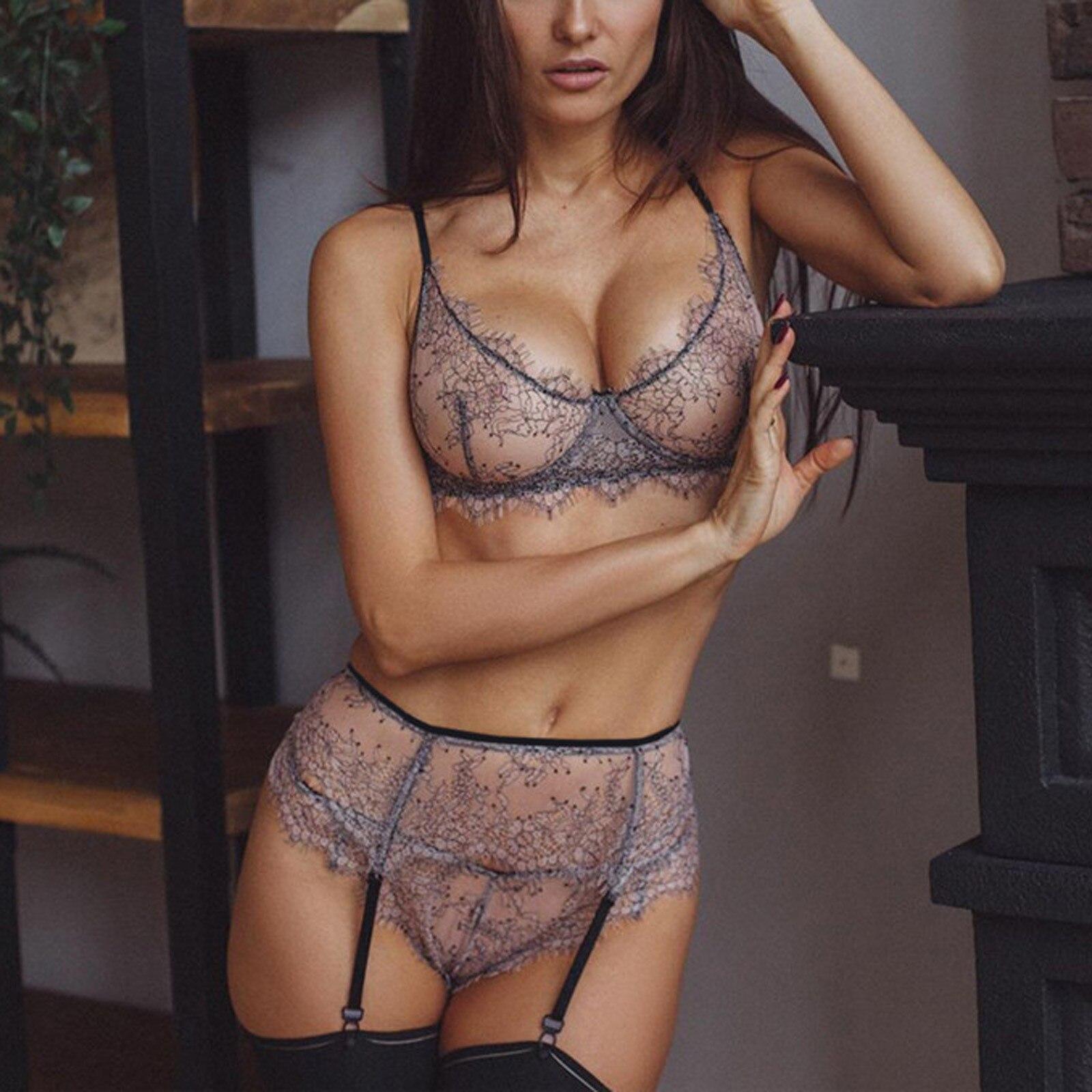 Conjunto de lencería Sexy para mujer, Liga de encaje de malla transparente, sujetador, conjunto de ropa interior, 3 uds.