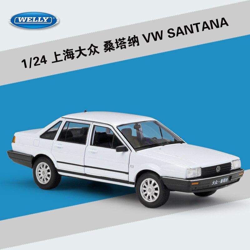 1 24 blanco Santana de aleación de fundición modelo estática de los coches en miniatura Colección Metal juguetes Mini coche decoración hogar