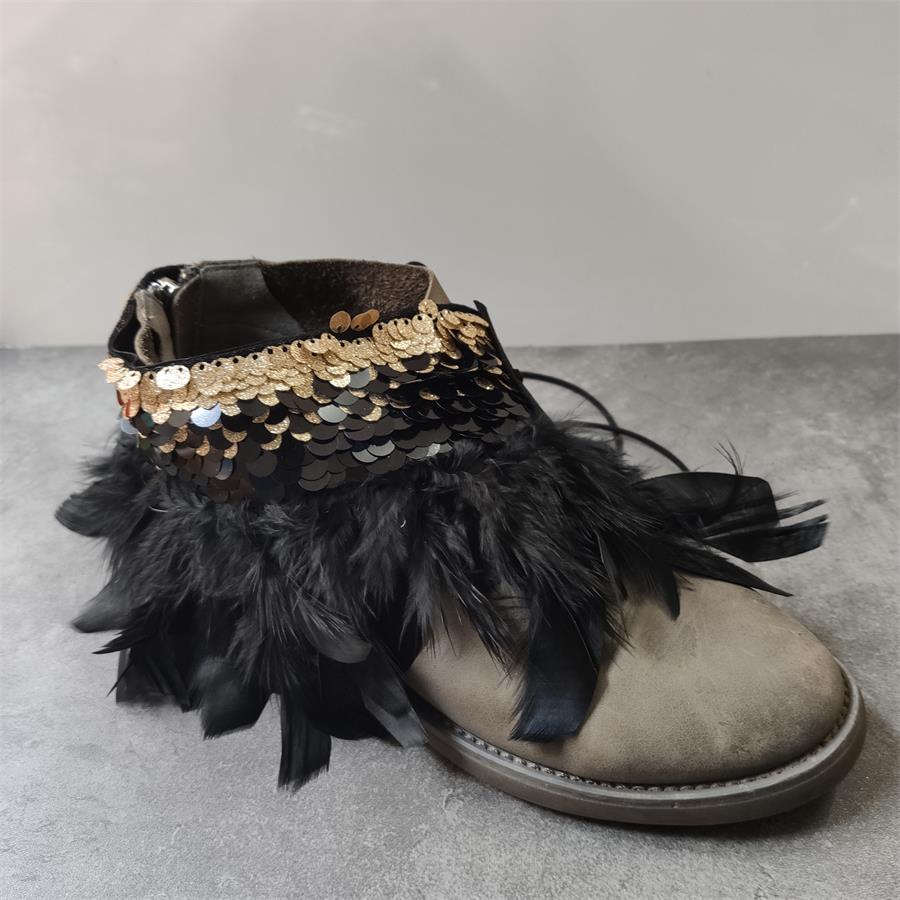 Schwarz Feder Glänzende Goldene Braut Hochzeit Party Schuhe Zubehör Für High Heels Sandalen Stiefel Wohnungen Glänzende Schuh Dekorationen
